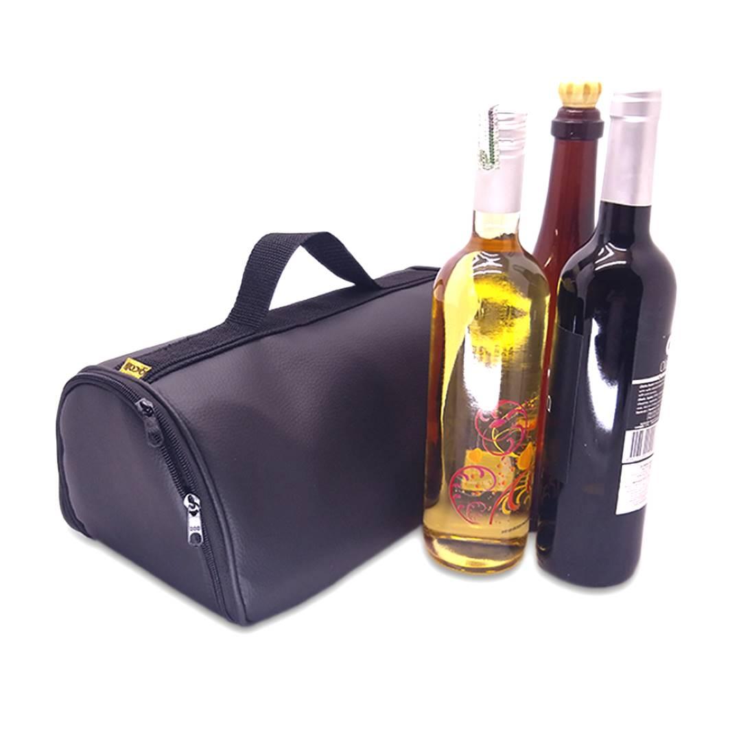 Bolsa Porta Vinho Triplo Couro Preto