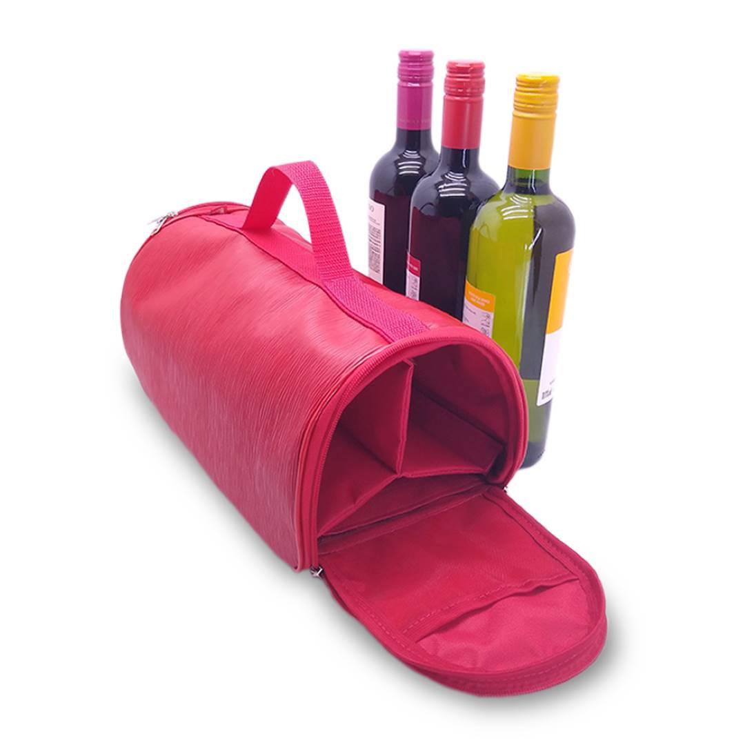 Bolsa Porta Vinho Triplo Couro Vermelho