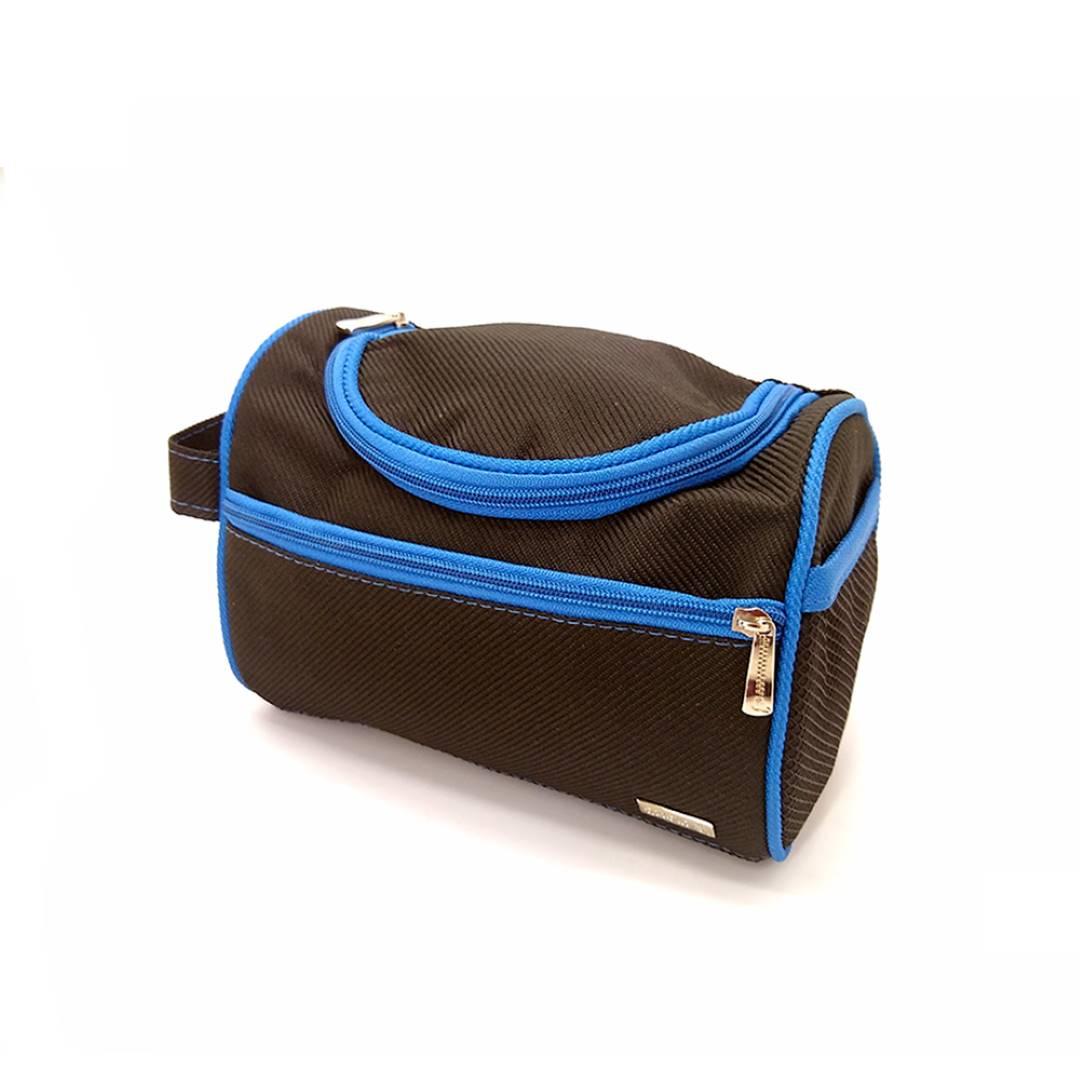 Necessaire Masculina com gancho Preta com Azul