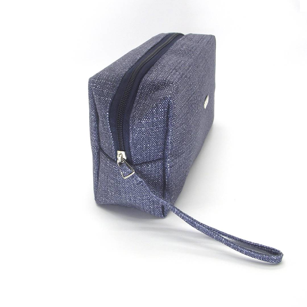 Necessaire Retangunlar G Tecido Azul Jeans