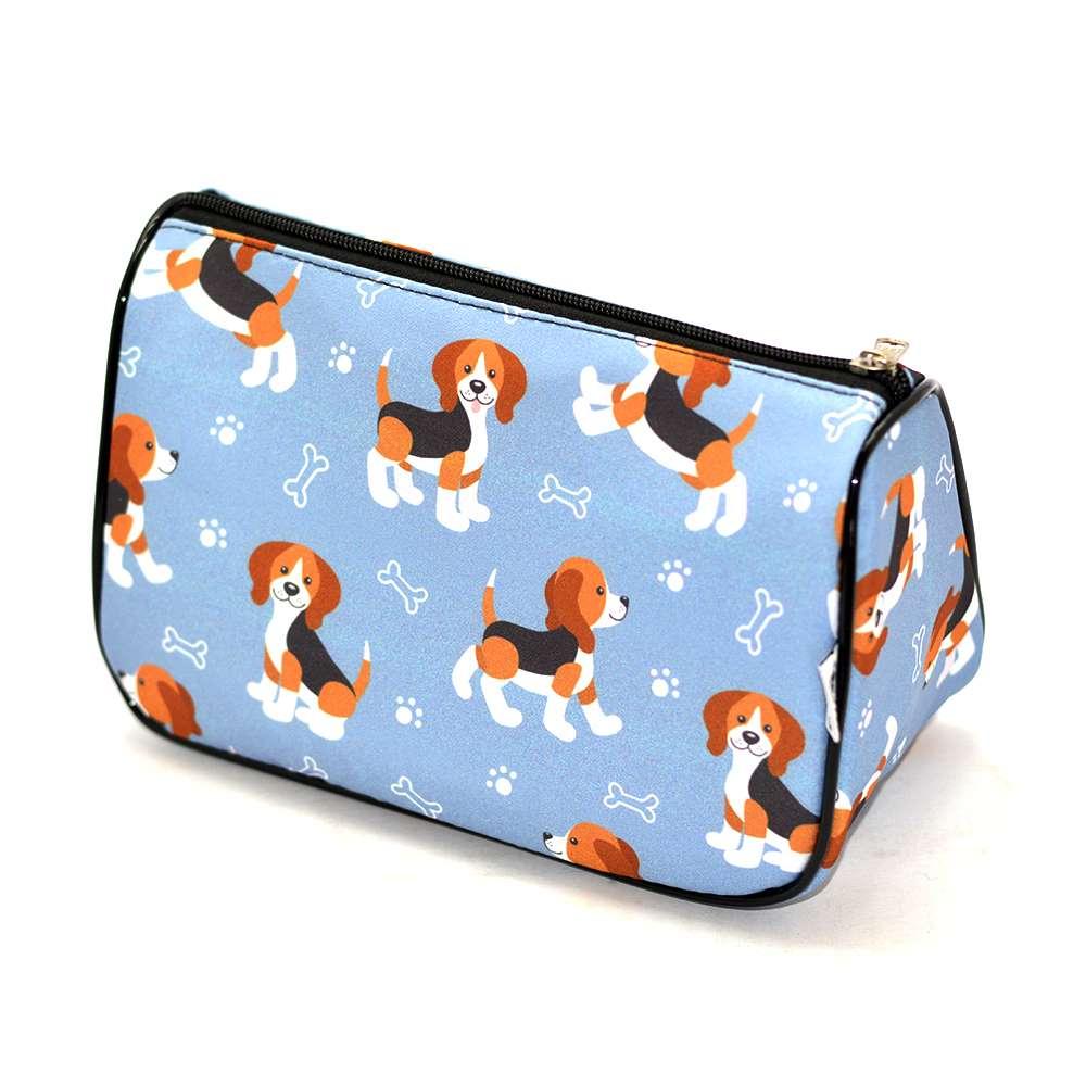 Necessaire Trapézio Pets Beagle Cinza G