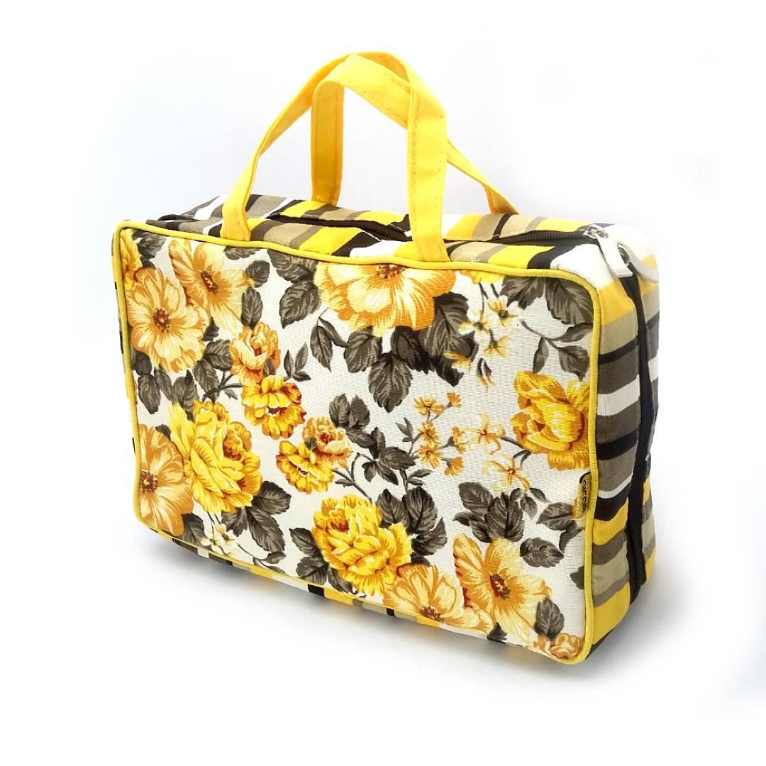 Organizadora de Mala Mil Divisórias Amarelo Floral