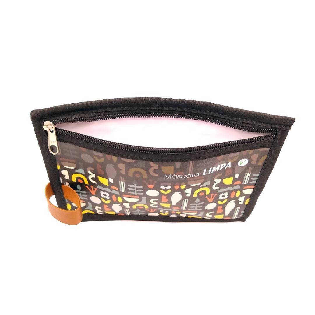Porta Máscara Limpa e Suja ziper 2 compartimentos Egito Preto