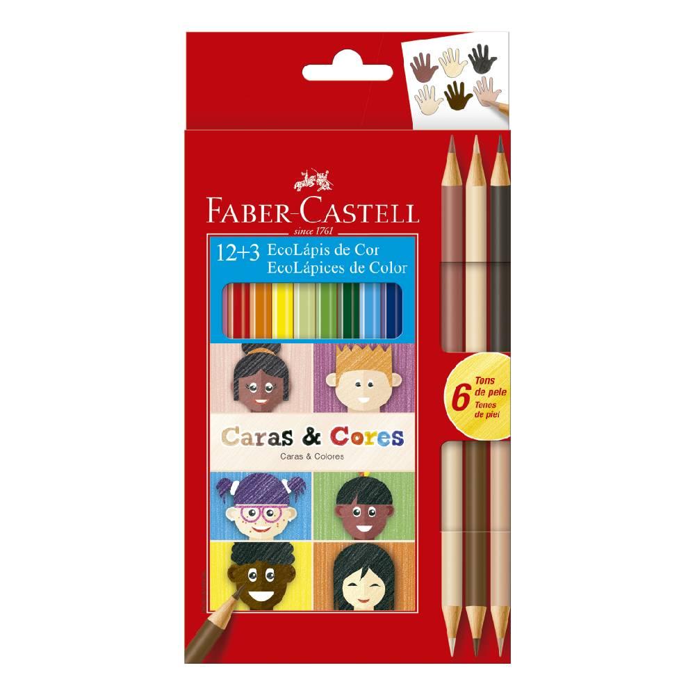 12+3 Ecolápis de Cor Caras e Cores Faber-Castell