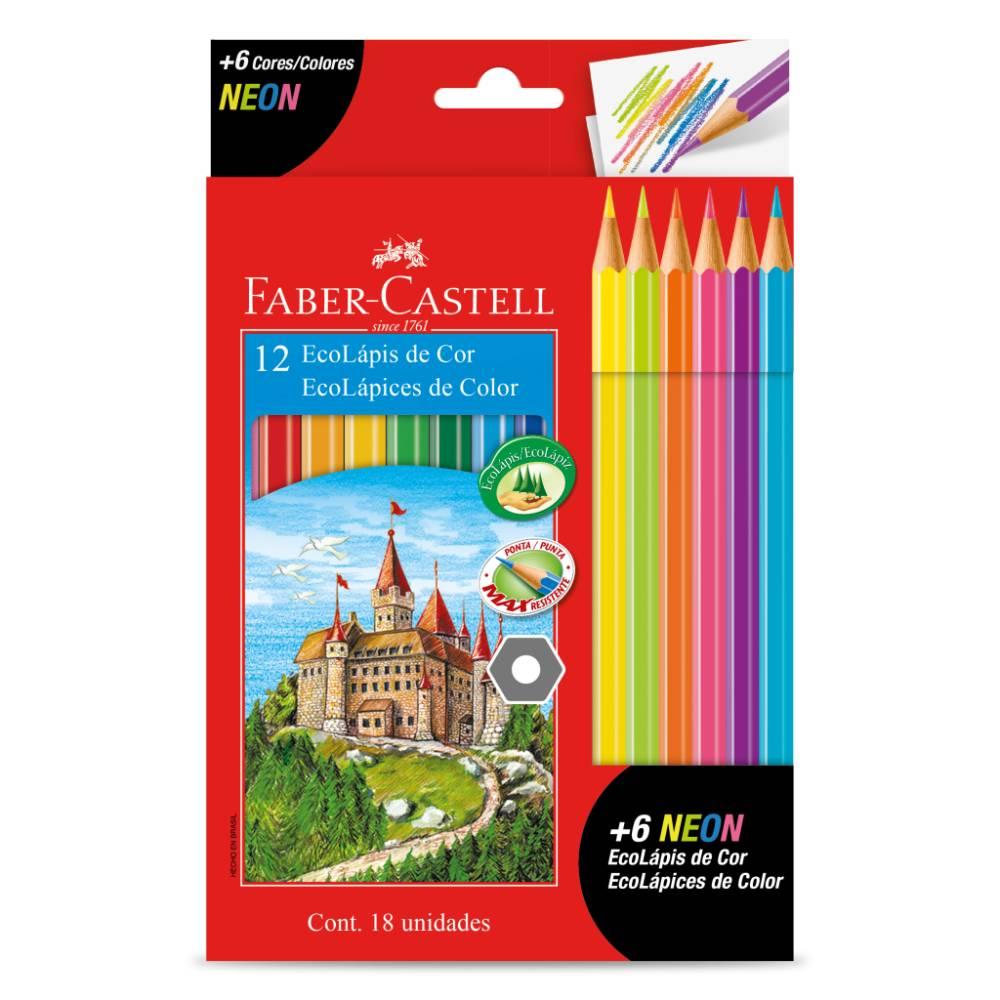 12 Ecolápis de Cor +6 Neon Faber-Castell