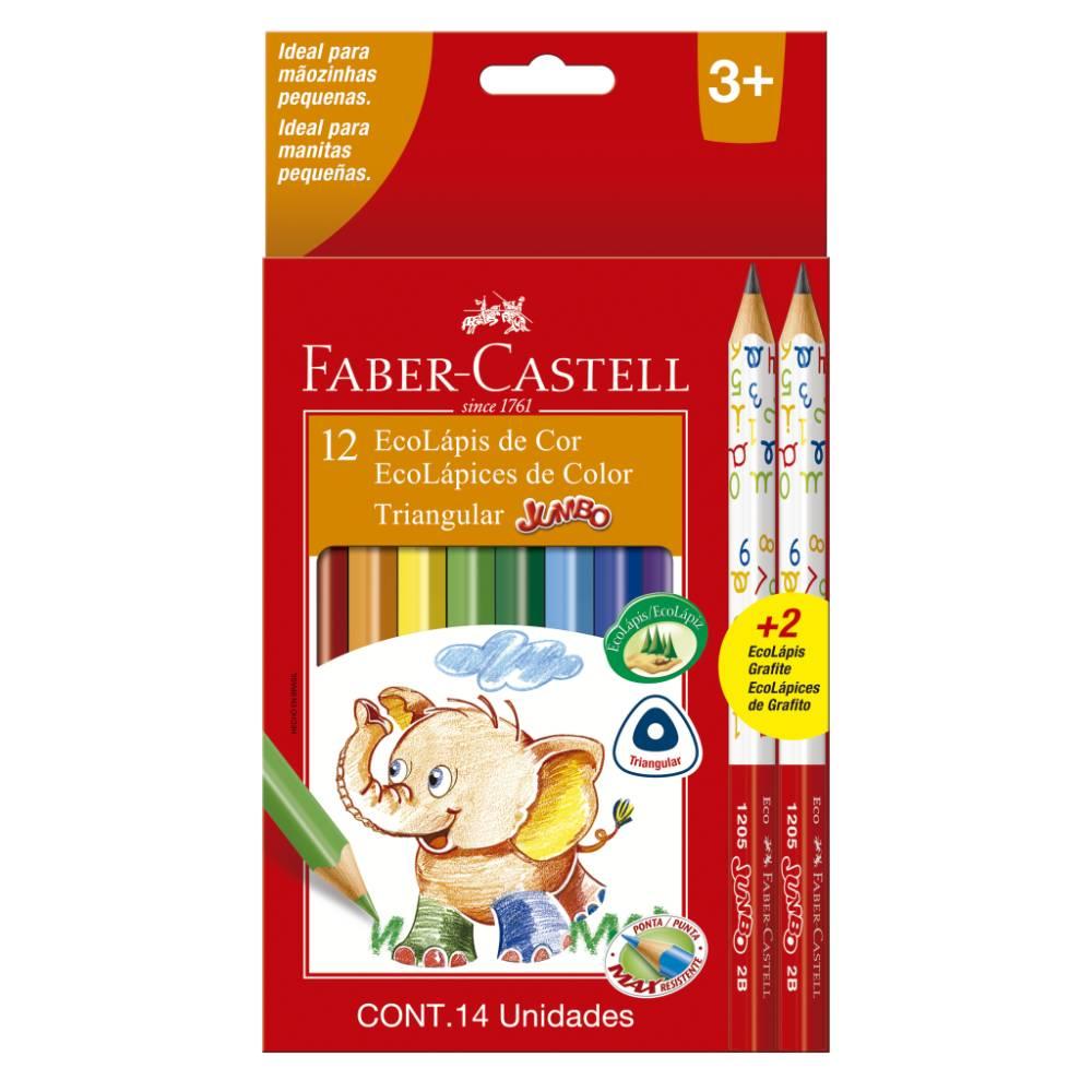12 Ecolápis de cor Jumbo + 2 Lápis Grafite Faber-Castell