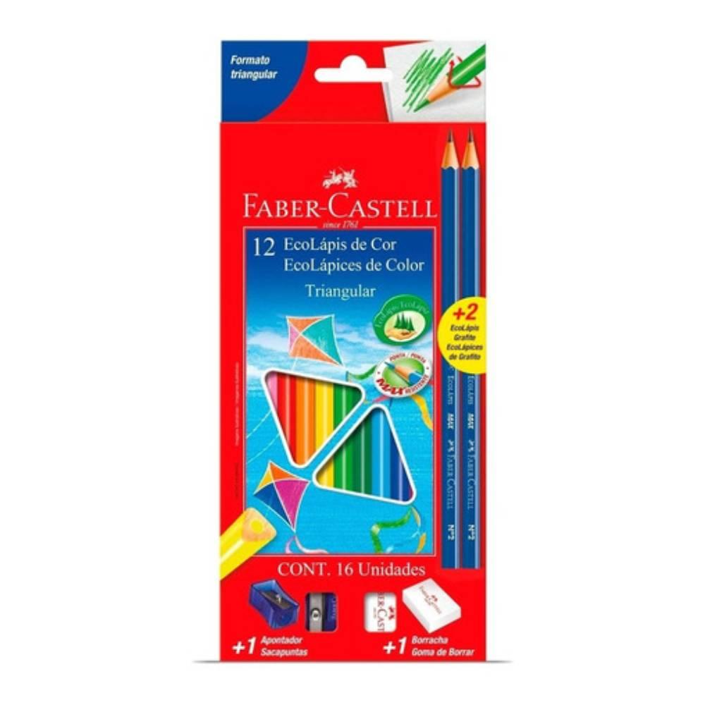 12 Ecolápis de Cor Triangular + 2 Ecolápis grafite Faber-Castell