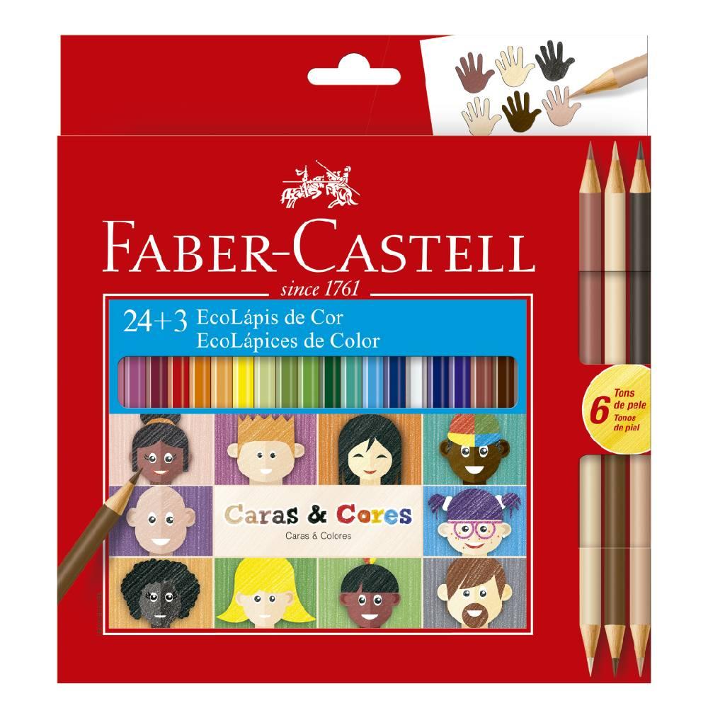 24+3 Ecolápis de Cor Caras e Cores Faber-Castell