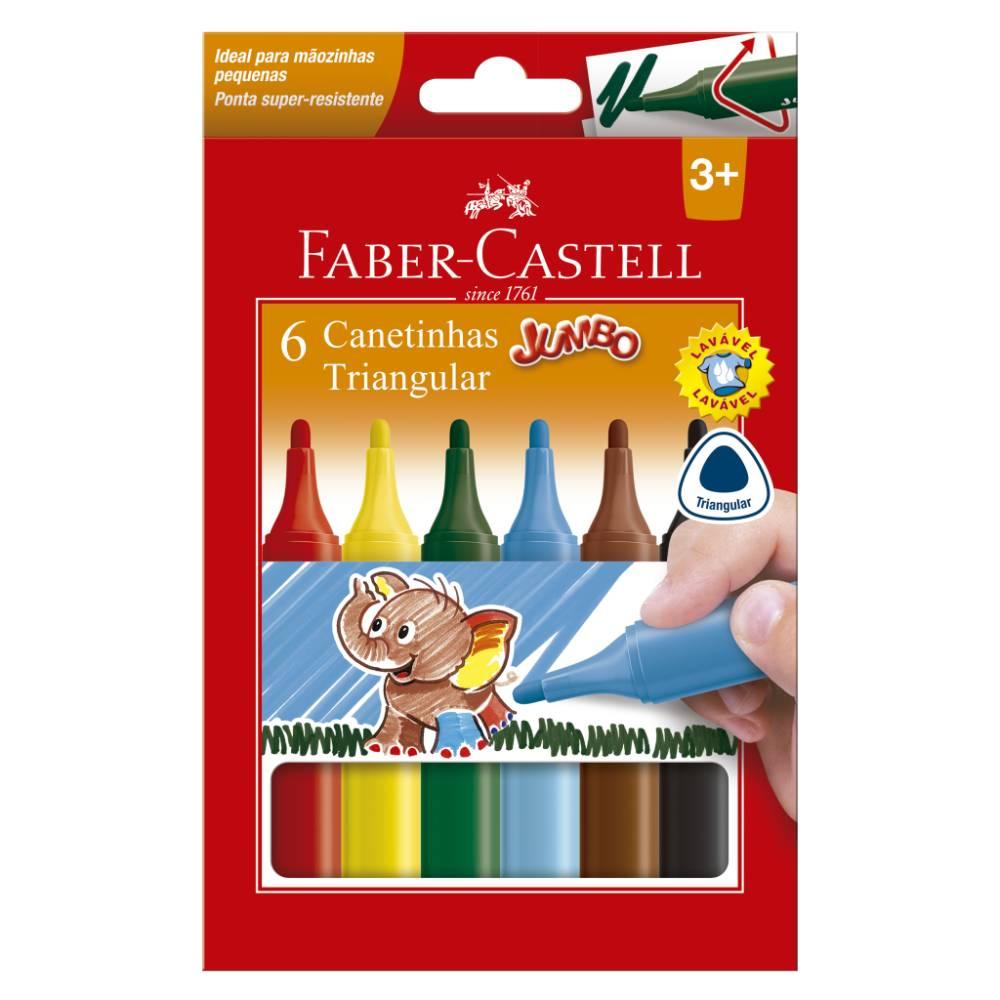 6 Canetinhas Jumbo Triangulares Faber-Castell