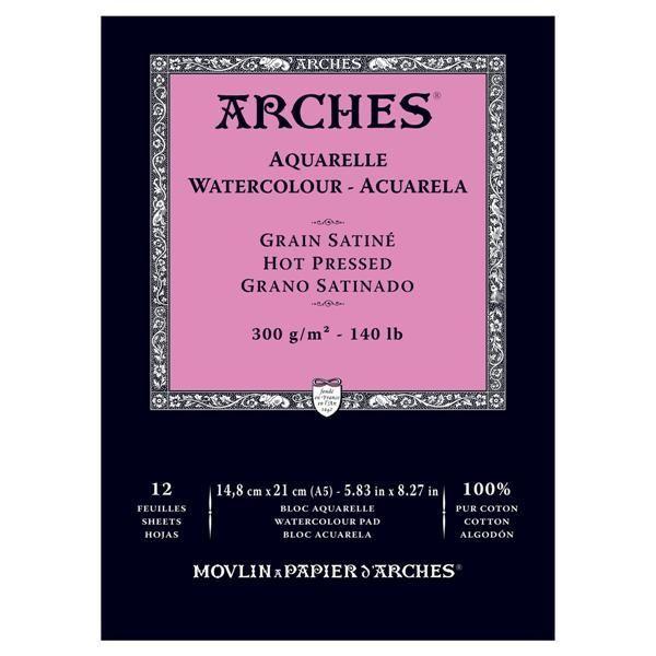Arches Aquarela Grao Satinado com 12 folhas Branco