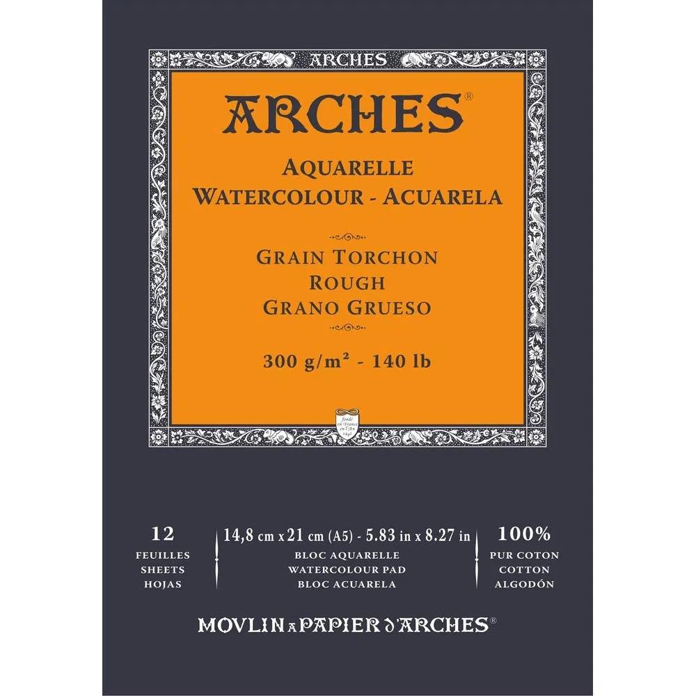 Bloco Aquarela 300 g/m² Grain Torchon 14,8 x 21 cm com 12 Folhas Arches ARCHES