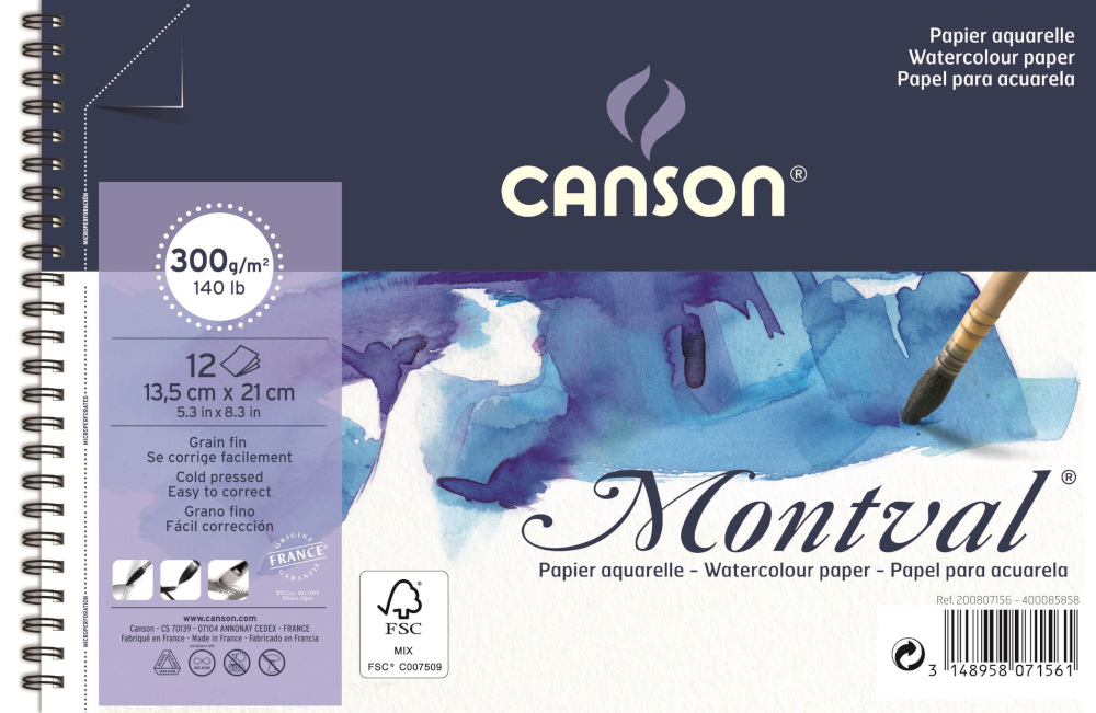 Bloco Montval Aquarela Grain Fin 300g/m² Espiral Canson