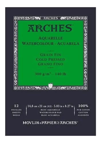 Bloco Arches Aquarelle Grain Fin 300g A5 12 Folhas