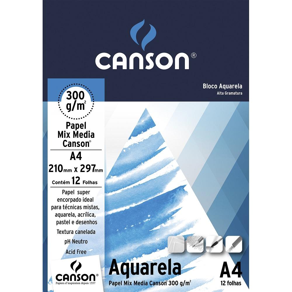 Bloco Canson Aquarela A4 300g 12 Folhas