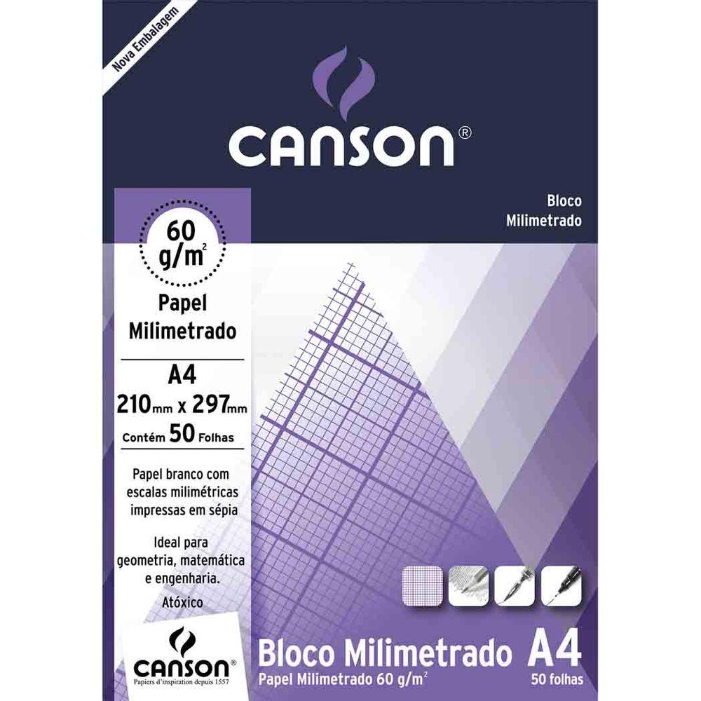 Bloco Milimetrado Estudante 60g A4 50fls Canson