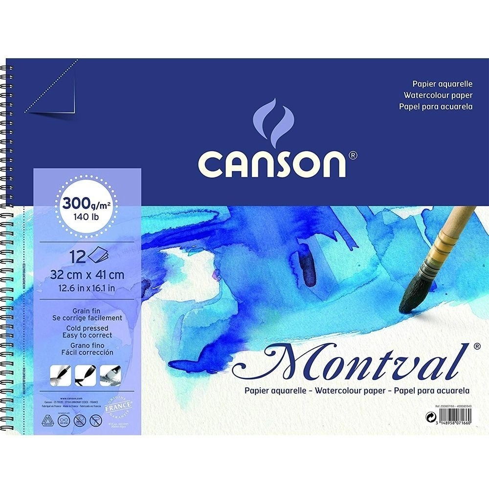 Bloco Montval Aquar T Fina C/ Espiral 12fls 32x41 300gm2 Canson