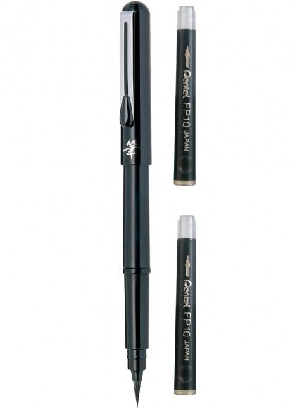 Caneta Pincel Preta Pocket Brush + 2 Refil Pentel