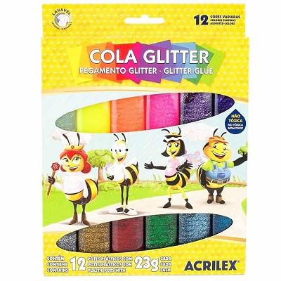 Cola Glitter 12 Cores Acrilex 23g