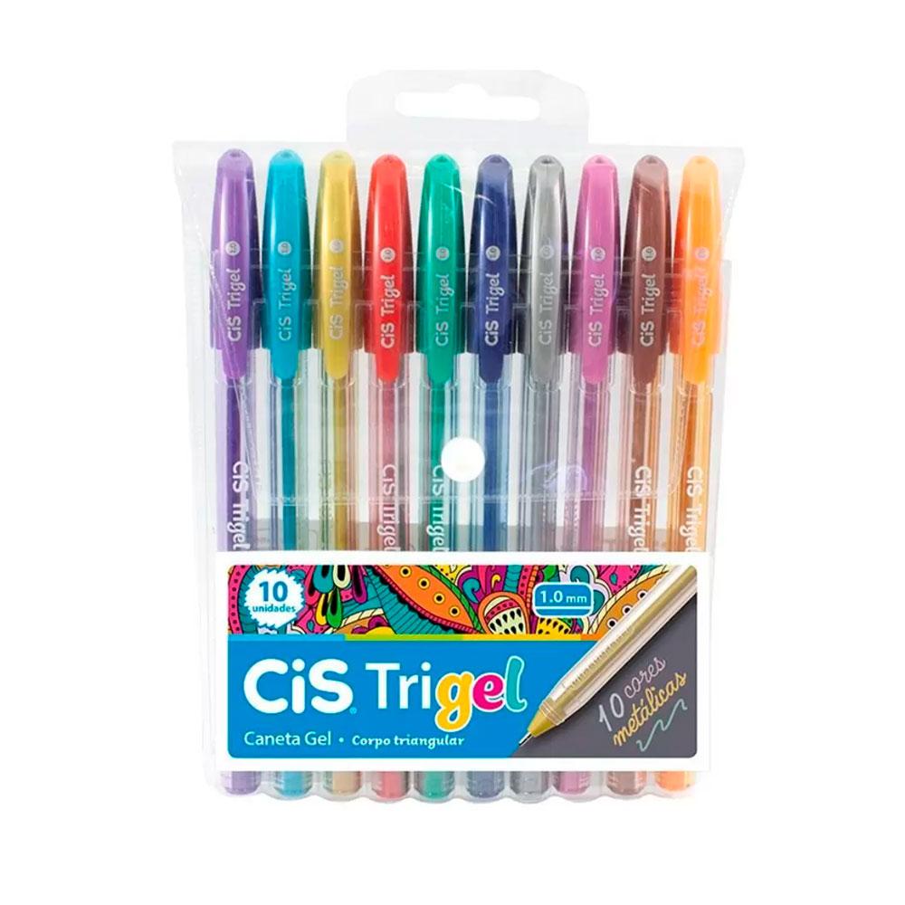Conjunto com 10 Canetas Cis Trigel Metálica 1.0mm