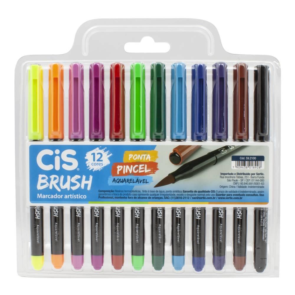Conjunto com 12 Marcadores Cis Brush