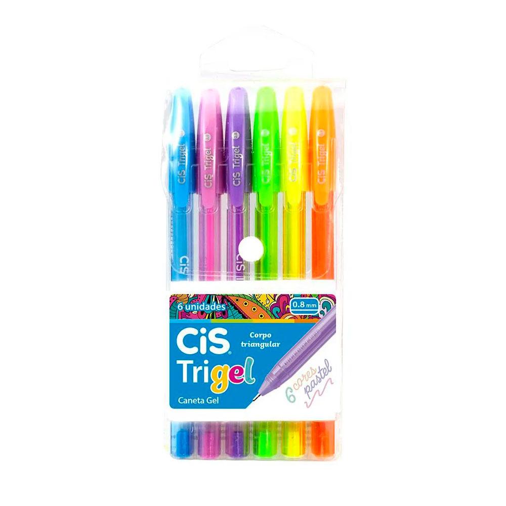 Conjunto com 6 Canetas Cis Trigel Pastel 0.8mm
