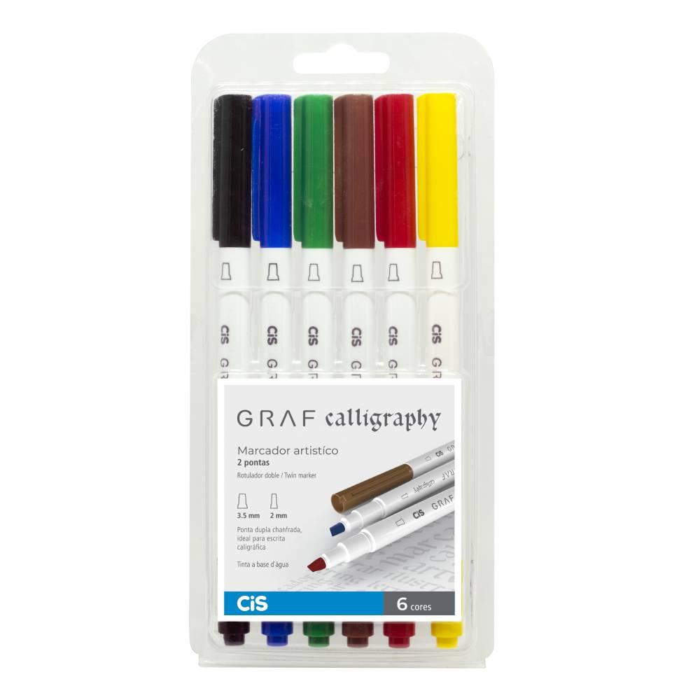 Conjunto com 6 Marcadores Cis Graf Calligraphy