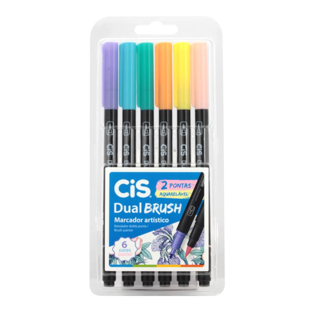 Conjunto com 6 Marcadores Dual Brush Cis Pastel