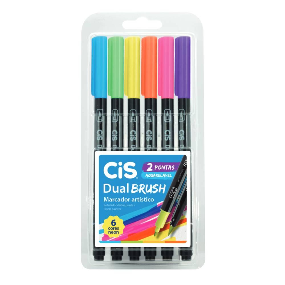 Conjunto com 6 Marcadores Dual Brush Neon Cis
