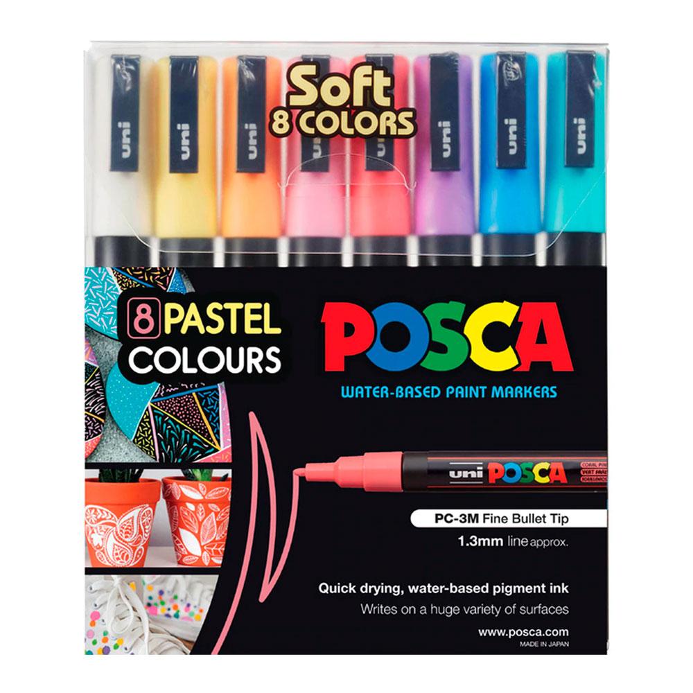 Conjunto com 8 Canetas Posca Soft Color PC-3M