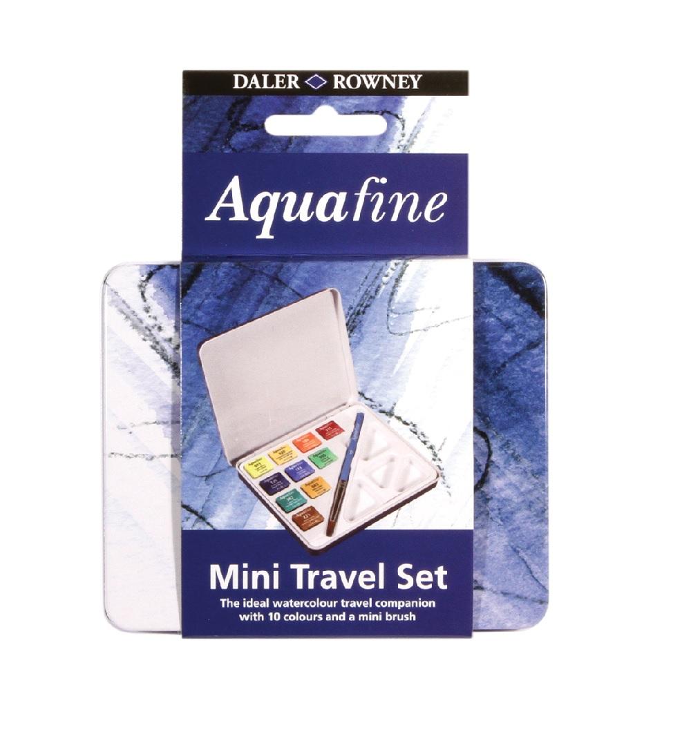 Conjunto de Aquarela para Viagem Mini Travel Set Aquafine 10 cores