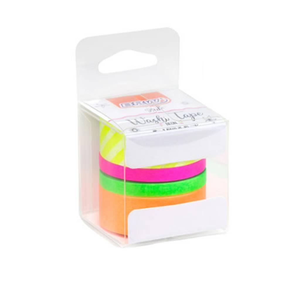 Conjunto de Fitas Washi Tape Neon c/ 4
