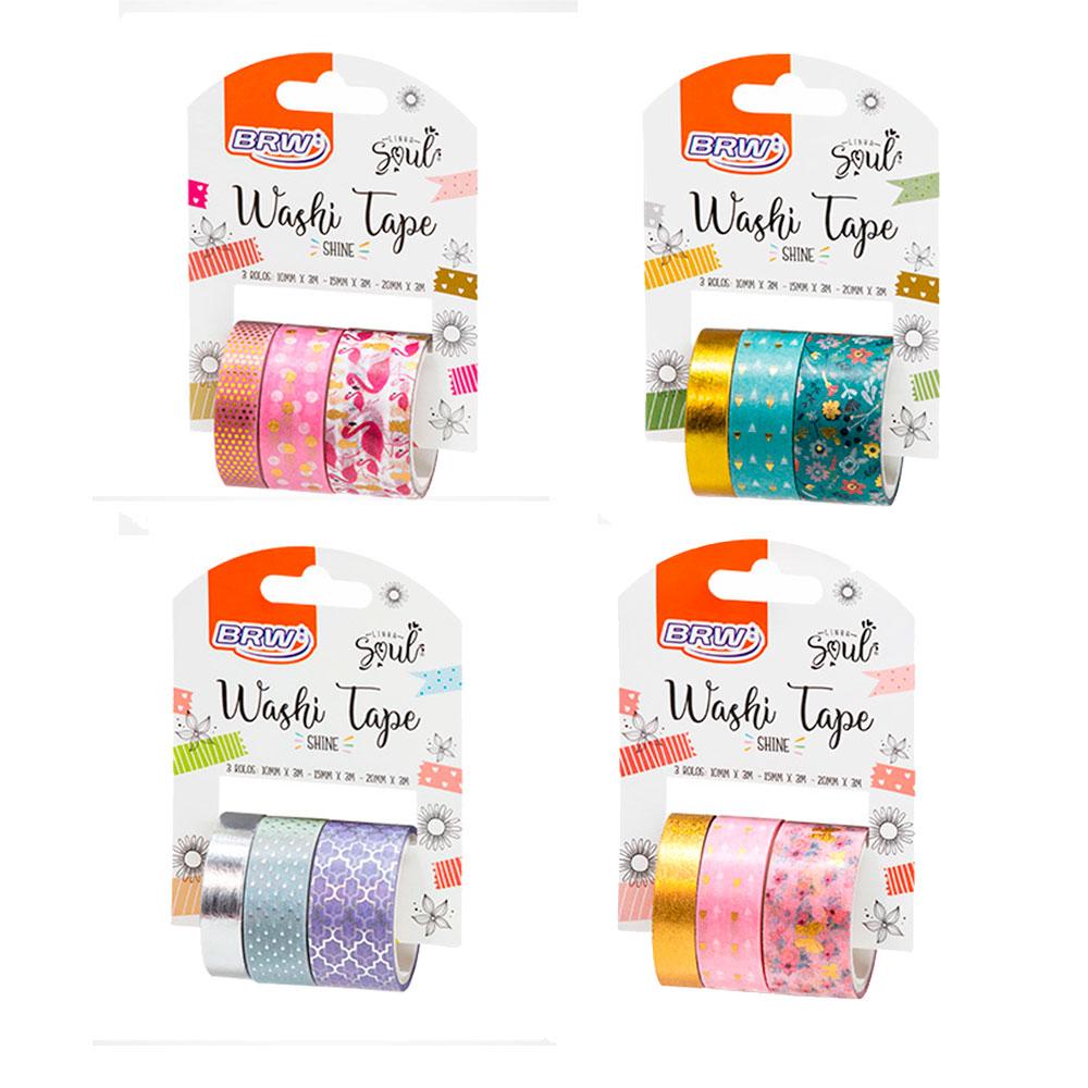 Conjunto de Fitas Washi Tape Shine c/ 3