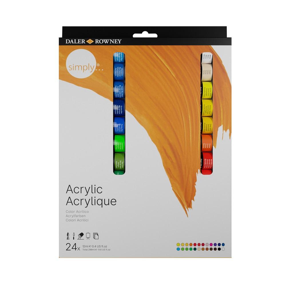Conjunto de Tinta Acrílica Simply Acrylic 24 cores
