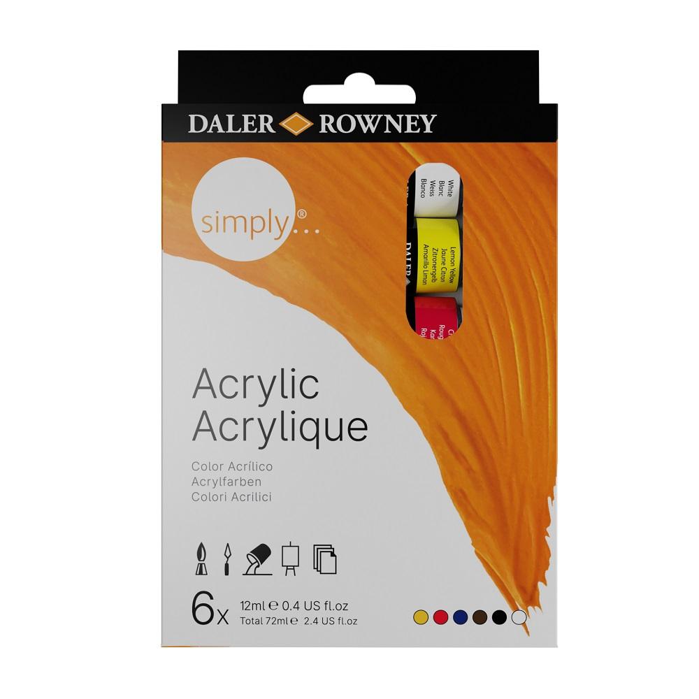 Conjunto de Tinta Acrílica Simply Acrylic 6 cores