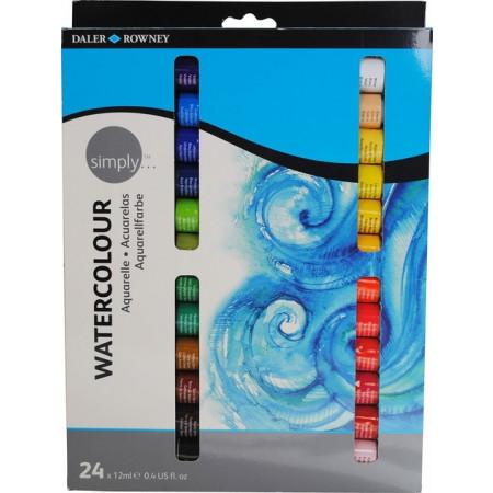 Conjunto de Tintas Aquarela Simply Watercolor Daler Rowney c/ 24 unidades