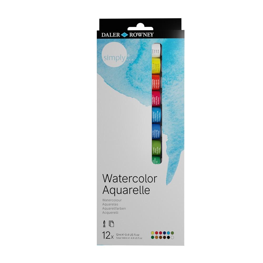 Conjunto de Tintas Aquarela Simply Watercolor Aquarelle Daler Rowney c/ 12 unidades