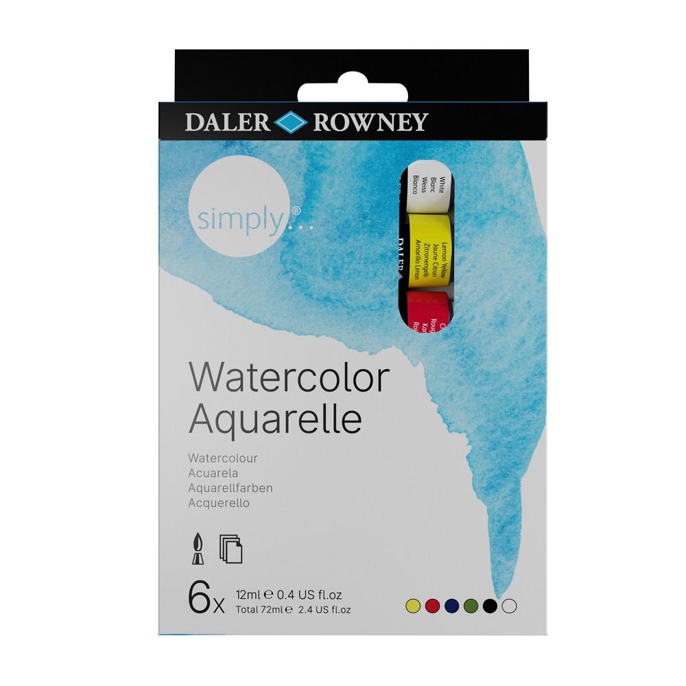 Conjunto de Tintas Aquarela Simply Watercolor Aquarelle Daler Rowney c/ 6 unidades