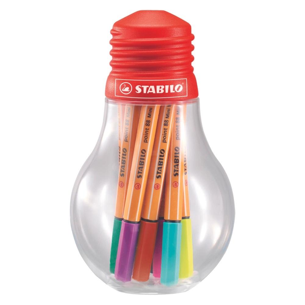 Conjunto de Stabilo Point 88 Mini Colorful Ideias 12 Cores Lâmpada