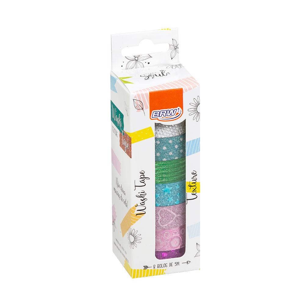 Fita Adesiva Washi Tape - Textures - 15mmx5m - Caixa C/ 8un Brw