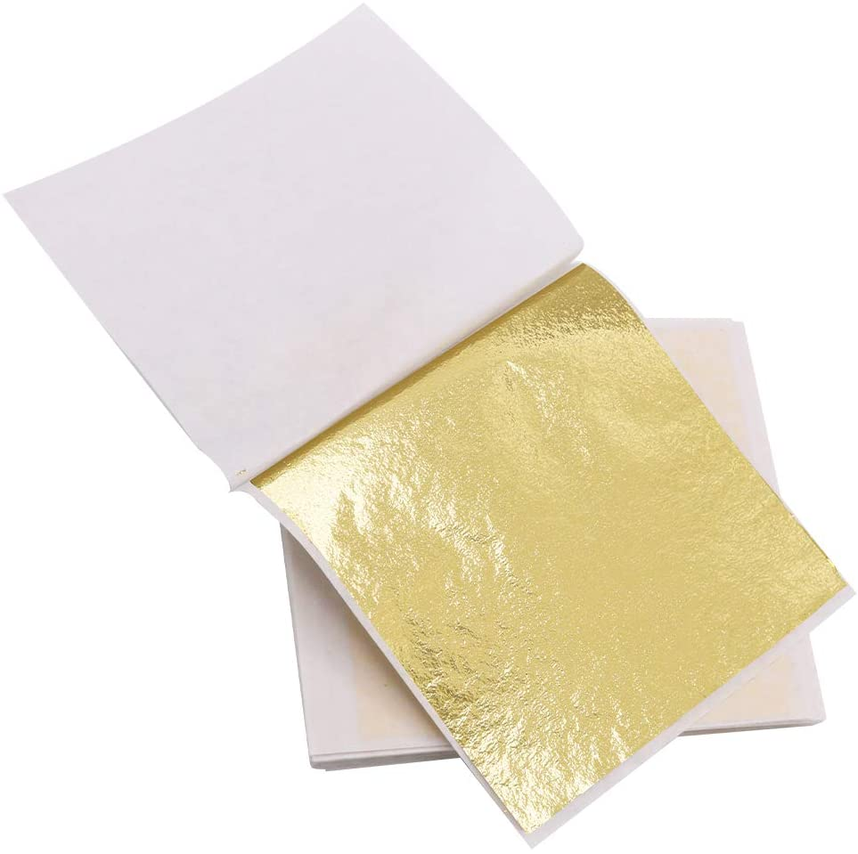 Folha Imitação de Ouro e Prata 14x14cm Pacote com 25 Folhas Make+