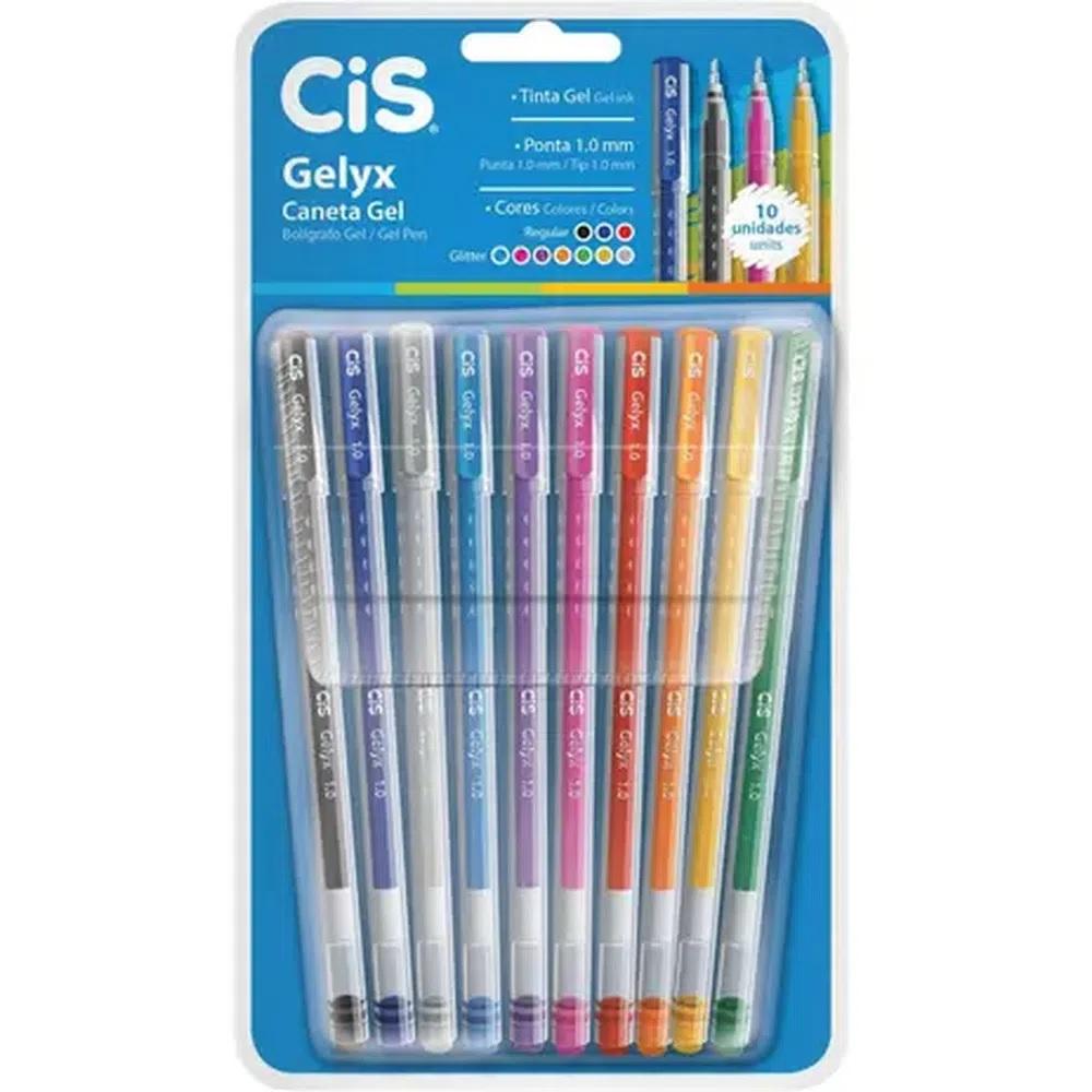 Conjunto de Caneta Gel Cis Gelyx 1.0mm 10 Cores