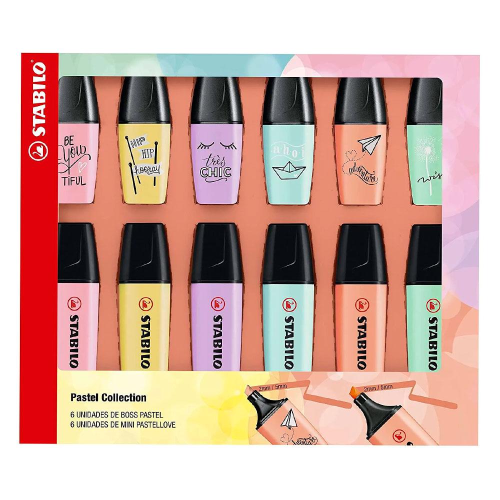 Kit Stabilo Boss Pastel + Mini Pastel Love c/ 12 itens