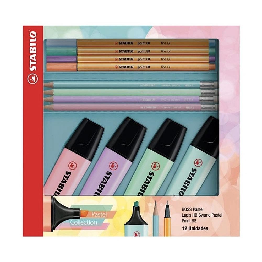 Kit Stabilo Pastel Collection - Boss Pastel + Point 88 + Lápis Swano c/ 12 ítens