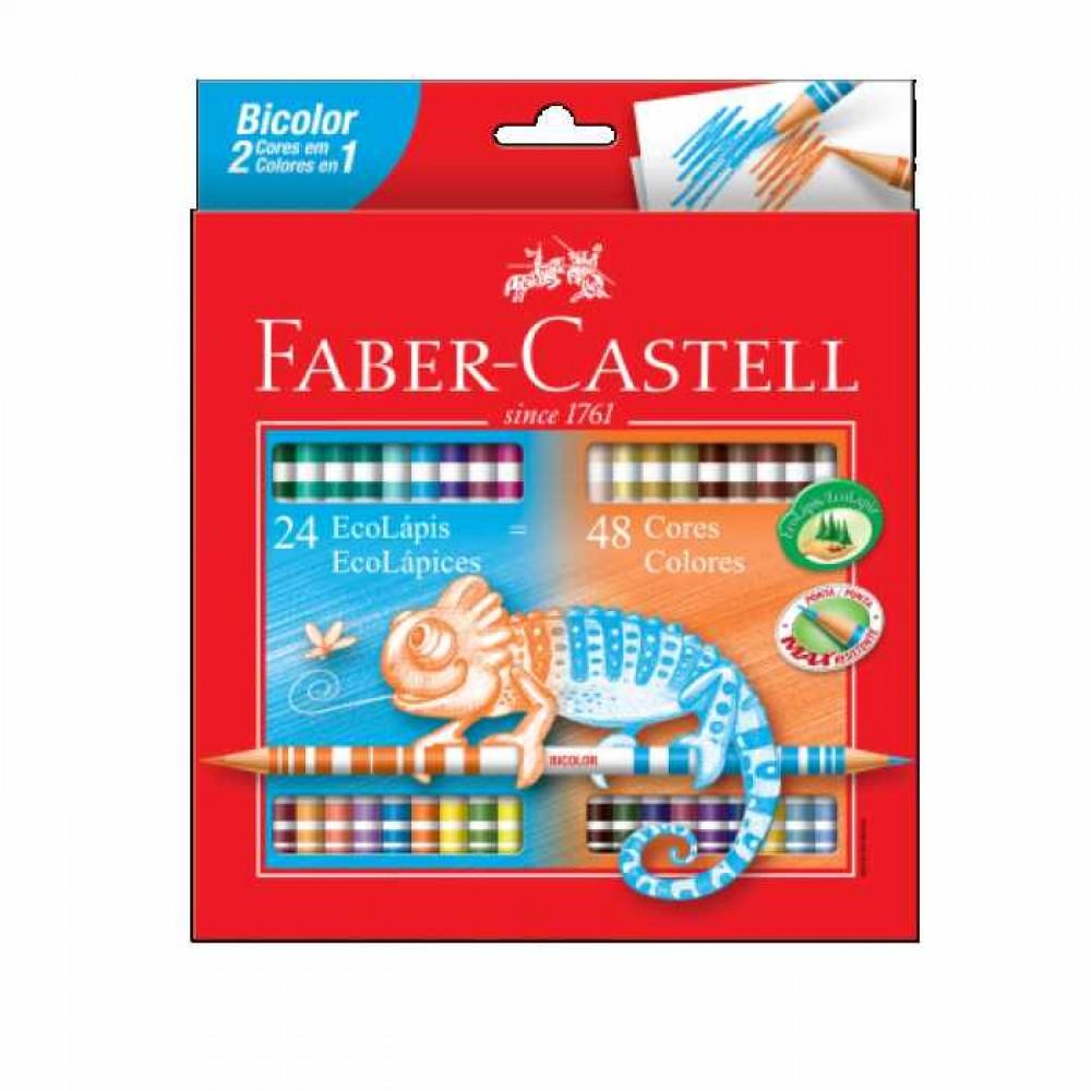 Lápis De Cor Bicolor 24=48 Cores Faber Castell