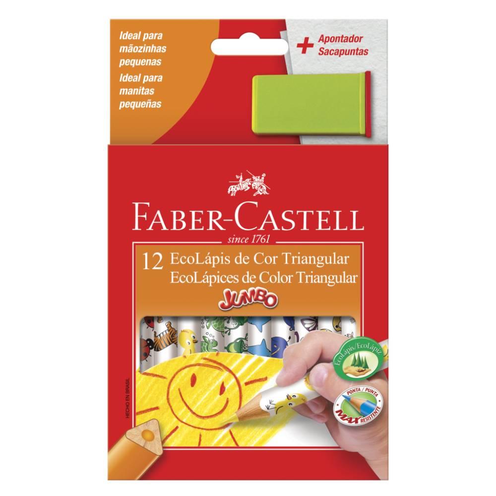 12 Lápis de Cor Jumbo Mini + Apontador Faber-Castell