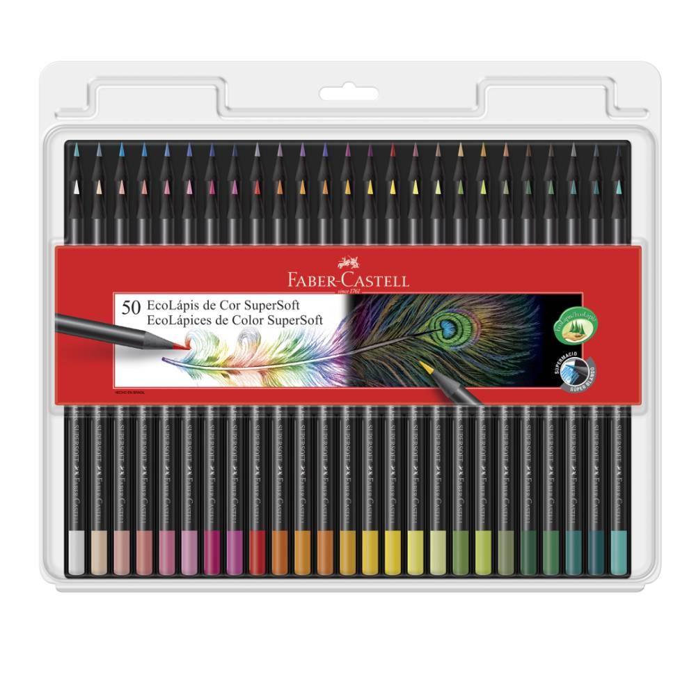 Lápis de Cor Supersoft Faber-Castell 50 Cores