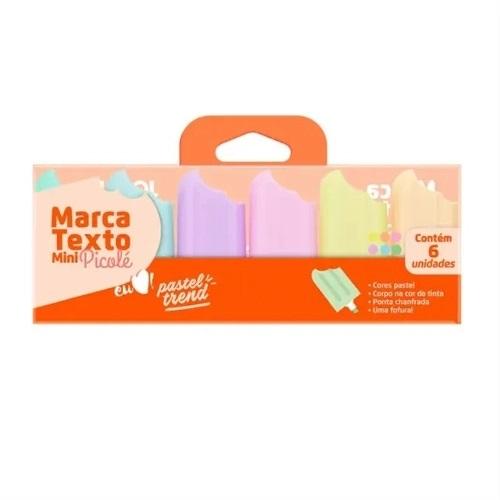 Conjunto de Marca Texto Mini Picole Pastel Trend 6 Cores Jocar Office