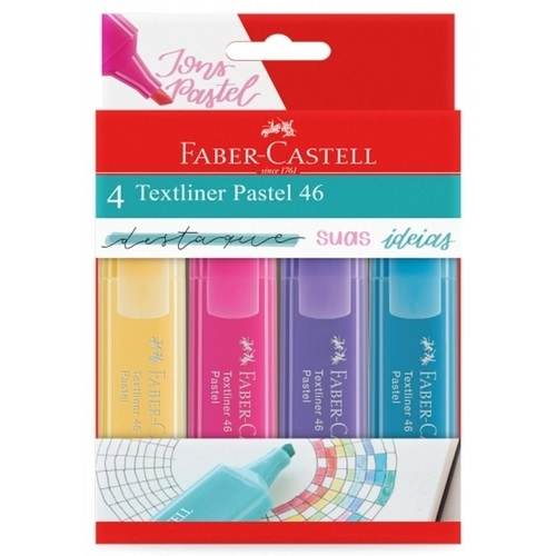 Marca Texto Pastel Textliner 46 C/4 Cores Faber Castell
