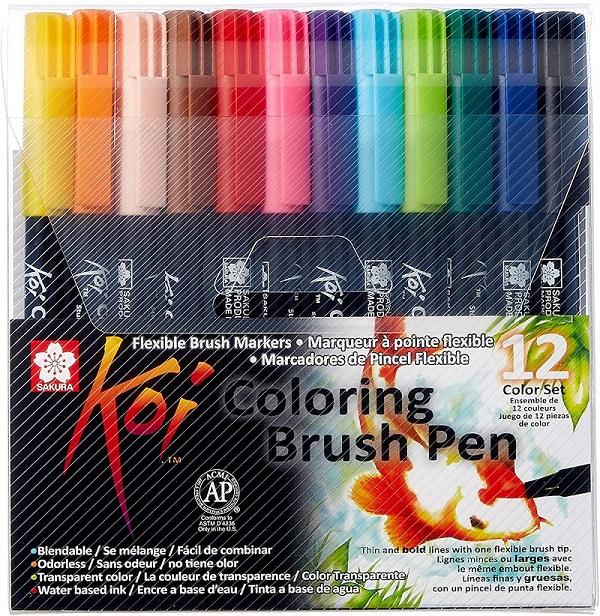Conjunto de Marcador Brush Pen Koi 12 Cores Sakura