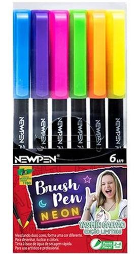Pincel Brush Pen - Cores Neon Yasmin Galvão - cx/ 6 Newpen